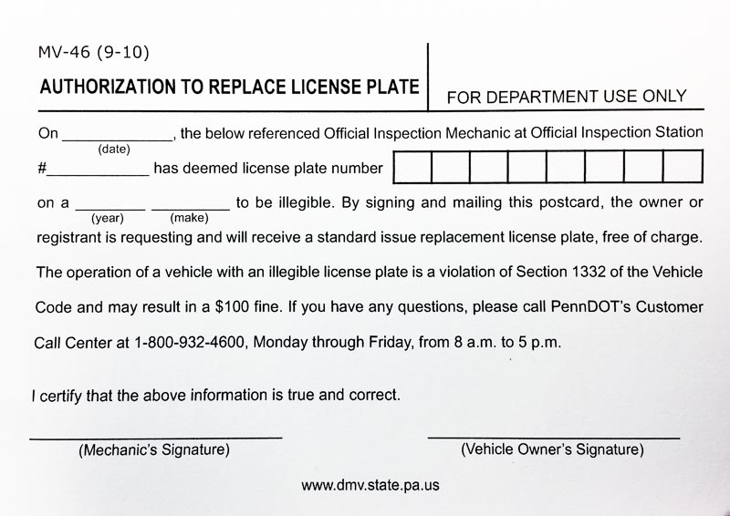 Replacing your Pennsylvania License Plate for Free MV-46 Form