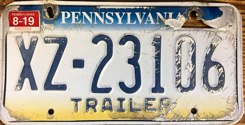 Replacing your Pennsylvania License Plate for Free, Old License Plate
